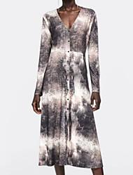 preiswerte -Damen Midi T-Shirt Kleid V-Ausschnitt grau S m l