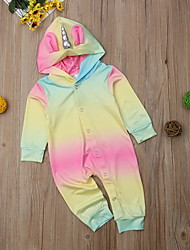 お買い得  -赤ちゃん 女の子 ストリートファッション カラーブロック 長袖 ポリエステル ワンピース レインボー