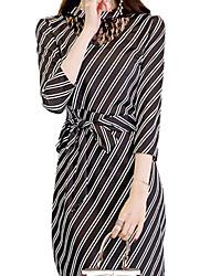 저렴한 -여성용 우아함 칼집 드레스 - 줄무늬, 컷 아웃 레이스 -업 비대칭