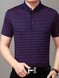 baratos -Homens Camiseta Listrado Colarinho de Camisa Delgado