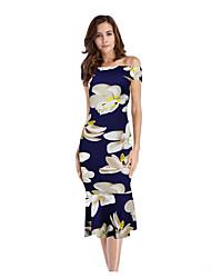 זול -מידי פרחוני - שמלה צינור נדן בסיסי בגדי ריקוד נשים