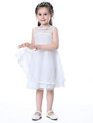 Χαμηλού Κόστους -Παιδιά Κοριτσίστικα Μονόχρωμο Δαντέλα Βαμβάκι Φόρεμα Λευκό