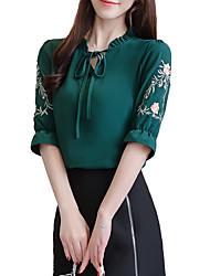 billige -kvinners pluss størrelse bomullsbluse - floral v-hals