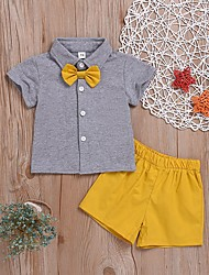tanie -Brzdąc Dla chłopców Aktywny Solidne kolory Łuk Krótki rękaw Regularny Regularny Bawełna / Poliester Komplet odzieży Żółty