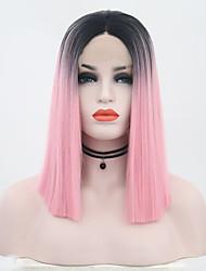 billige -Syntetisk blonder foran parykker Rett Nyanse Midtdel Svart / Rosa Syntetisk hår 12 tommers Dame Justerbar / Varme resistent / Dame Nyanse Parykk Kort Blonde Forside