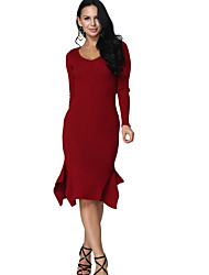 رخيصةأون -المرأة في الركبة طول غمد اللباس ضئيلة النبيذ الأسود الأزرق م م xl