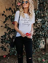 billiga -kvinna t-shirt - brev rund hals