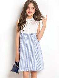 Χαμηλού Κόστους -Παιδιά Κοριτσίστικα χαριτωμένο στυλ Ριγέ Αμάνικο Ως το Γόνατο Πολυεστέρας Φόρεμα Θαλασσί