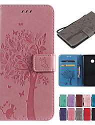 Недорогие -Кейс для Назначение Xiaomi Xiaomi Pocophone F1 / Xiaomi Redmi 6 Pro / Xiaomi Mi Play Кошелек / Бумажник для карт / со стендом Чехол Однотонный / Кот / дерево Твердый Кожа PU / Xiaomi Redmi Note 4X