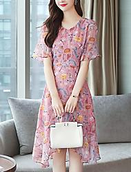baratos -Mulheres Elegante Evasê Vestido - Estampado, Floral Altura dos Joelhos