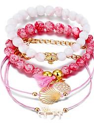 tanie -4 szt. Damskie Wielowarstwowy Zestaw bransoletek Ananas Muszlowy Elegancki Modny Bransoletki Biżuteria Różowy Na Prezent Ulica