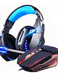 billige -LITBest Hodetelefoner og Headset Med ledning Hodetelefoner Hodetelefon Aluminium-magnesium legering Gaming øretelefon Lyd-aktiverte LED-lys / Støyisolerende / HIFI Headset