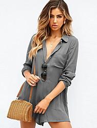 رخيصةأون -M L XL لون سادة, ثياب خارجية فضفاضة ساق عريضه رمادي أرجواني أساسي نسائي