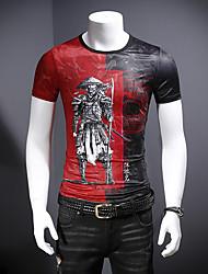 abordables -Hombre Estampado Camiseta Bloques / Caricatura