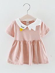 billige -Baby Jente Sofistikert Stripet Kortermet Ovenfor knéet Polyester Kjole Svart