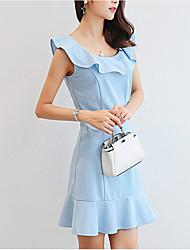 preiswerte -Damen Elegant Hülle Kleid - Patchwork, Solide Mini