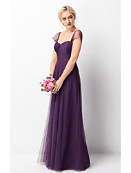 cheap -A-Line Strapless Floor Length Tulle Bridesmaid Dress with Pleats by LAN TING Express
