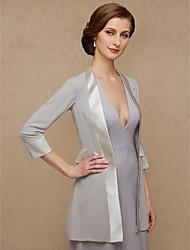 ราคาถูก -แขนยาว 3/4 ชิฟฟอน / ซาติน งานแต่งงาน / งานปาร์ตี้ / งานราตรี Women's Wrap กับ Splicing โค้ท / แจ๊คเก็ต