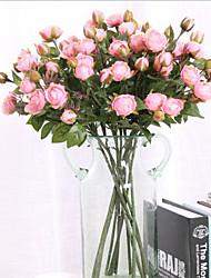 abordables -Fleurs artificielles 3 Une succursale Classique Européen Style Simple Roses Fleurs éternelles Fleur de Table
