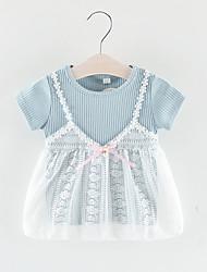 voordelige -Baby Meisjes Verfijnd Effen Lace Trim Korte mouw Boven de knie Polyester Jurk Blozend Roze