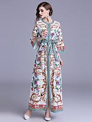 baratos -Mulheres Boho balanço Vestido - Estampado, Floral Estampado Cashemere Longo