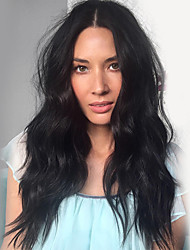 Χαμηλού Κόστους -Ανθρώπινες περούκες περούκες μαλλιών Φυσικά μαλλιά Κυματομορφή Σώματος Μέσο μέρος Μοδάτο Σχέδιο / Νεό Σχέδιο / Απίθανο Μαύρο Μακρύ Χωρίς κάλυμμα Περούκα Γυναικεία / Φυσική γραμμή των μαλλιών