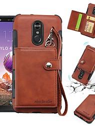 Недорогие -Кейс для Назначение LG LG Q Stylus / LG Stylo 4 Кошелек / Бумажник для карт / Защита от удара Кейс на заднюю панель Однотонный Мягкий Кожа PU