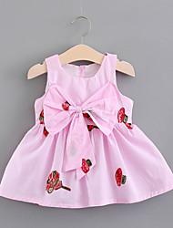 お買い得  -幼児 女の子 活発的 / 甘い 植物 リボン ノースリーブ 膝丈 コットン ドレス ホワイト