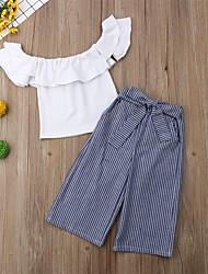hesapli -Toddler Genç Kız Boho Çizgili Fırfırlı Kolsuz Kısa Pamuklu / Polyester / Splandeks Kıyafet Seti Beyaz