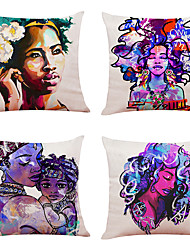 저렴한 -4 개의 행복한 부활절 리넨 광장 장식용 베개 커버 소파 쿠션 커버 세트 18x18