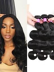 ieftine -4 pachete Păr Brazilian Stil Ondulat Păr Virgin Accesoriu de Păr Umane tesaturi de par Extensii 8-28inch Culoare naturală Umane Țesăturile de par O noua sosire Încântător Modă Umane extensii de par