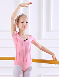 ราคาถูก -ชุดเต้นสำหรับเด็ก / ชุดเต้นบัลเล่ย์ ชุดแนบเนื้อสำหรับการเต้น เด็กผู้หญิง การฝึกอบรม / Performance ฝ้าย โบว์ แขนสั้น ธรรมชาติ ชุดแนบเนื้อสำหรับการเต้น