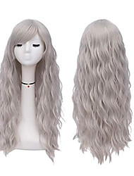 cheap -Synthetic Wig Curly Style Middle Part Capless Wig Dark Gray Grey Synthetic Hair 22 inch Women's Party Dark Gray Wig Long Natural Wigs