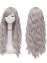 halpa -Synteettiset peruukit Kihara Tyyli Keskiosa Suojuksettomat Peruukki Tumman harmaa Harmaa Synteettiset hiukset 22 inch Naisten Party Tumman harmaa Peruukki Pitkä Luonnollinen peruukki