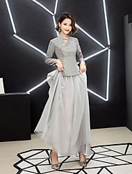 preiswerte -A-Linie Schmuck Boden-Länge Tüll / Pailletten Brautjungfernkleid mit Plissee durch LAN TING Express
