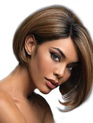halpa -Synteettiset peruukit Kinky Straight Tyyli Keskiosa Suojuksettomat Peruukki Kulta Blonde Synteettiset hiukset 12 inch Naisten Naisten Kulta Peruukki Pitkä Luonnollinen peruukki
