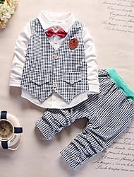 Недорогие -Дети (1-4 лет) Мальчики Шинуазери (китайский стиль) Шахматка Длинный рукав Хлопок Набор одежды Зеленый