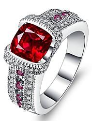 Недорогие -Жен. Кольцо Цирконий 1шт Красный Сплав Подарок Свадебные прием Бижутерия вымостить