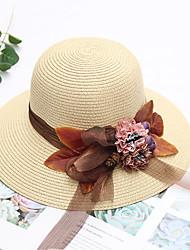 Χαμηλού Κόστους -Γυναικεία Μονόχρωμο Ενεργό Βασικό χαριτωμένο στυλ Πολυεστέρας Άχυρο Ψάθινο καπέλο Καπέλο ηλίου Όλες οι εποχές Μπεζ Βαθυγάλαζο Χακί