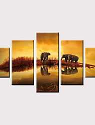 billige -Trykk Valset lerretskunst Strukket Lerret Trykk - Dyr Moderne Vintage Moderne Fem Paneler