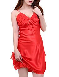 abordables -V Profond Jarretelles & Bretelles Pyjamas Femme Couleur Pleine