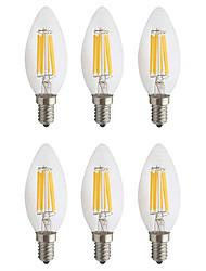 Недорогие -6 шт. 6 Вт светодиодные лампы накаливания 560 лм e14 c35 6 светодиодные шарики початка партии декоративные рождественские свадебные украшения теплый белый холодный белый 220-240 В