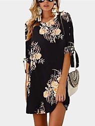 economico -Per donna Essenziale Boho Tubino T Shirt Camicia Vestito - Con stampe, Fantasia floreale Monocolore Sopra il ginocchio