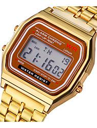 Недорогие -Для пары электронные часы Цифровой Нержавеющая сталь Серебристый металл / Золотистый Светодиодная лампа Повседневные часы Цифровой Винтаж Мода - Золотой Серебряный Один год Срок службы батареи