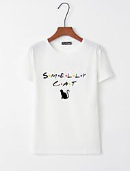 billige -T-skjorte Dame - Bokstaver, Trykt mønster Hvit L