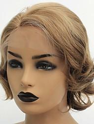 billige -Syntetisk Lace Front Parykker Naturligt, bølget hår Lily Stil Side del Blonde Front Paryk Blond Rødblondt Syntetisk hår 8 inch Dame Varme resistent / Dame / Side del Blond Paryk Kort Naturlig paryk