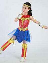 preiswerte -Superheld Kleid Cosplay Kostüme Kinder Mädchen Cosplay Halloween Halloween Karneval Maskerade Fest / Feiertage Tüll Polyester Rote Karneval Kostüme Patchwork Print
