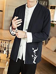 Недорогие -Муж. Повседневные Весна лето Большие размеры Обычная Куртка, Однотонный Китайский воротничок Длинный рукав Полиэстер Темно синий / Винный / Светло-серый
