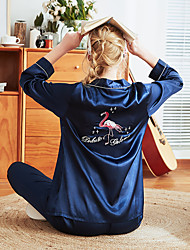 billige -Dame Skjortekrage Dress Pyjamas - Broderi