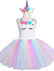 Недорогие -Дети единорога пачка платье до колен пастель радуга дети хэллоуин единорог повязка на голову набор